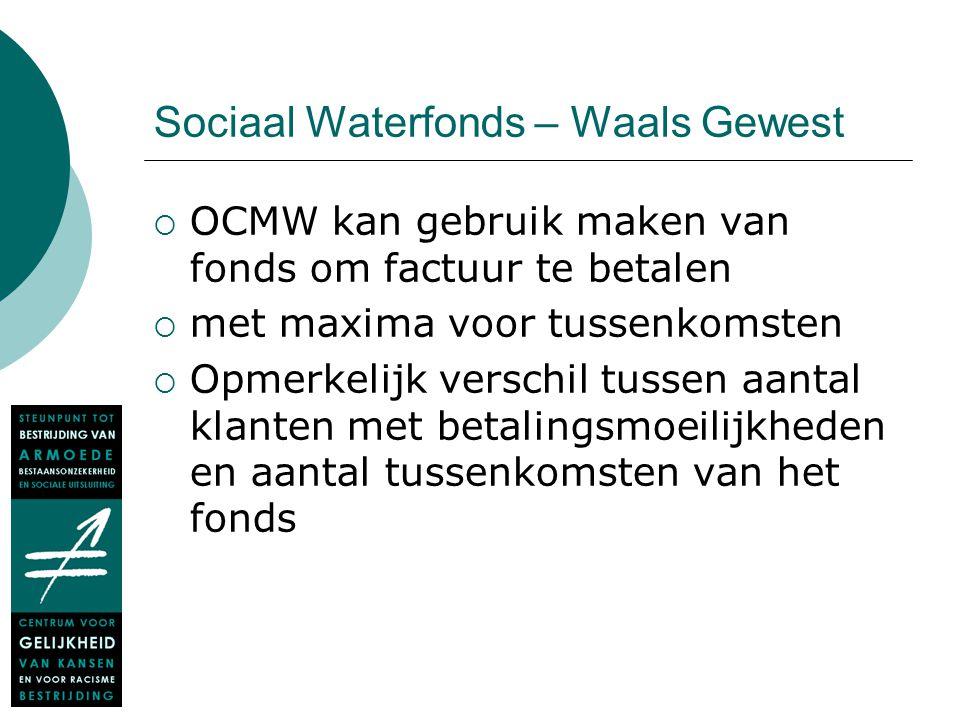 Sociaal Waterfonds – Waals Gewest  OCMW kan gebruik maken van fonds om factuur te betalen  met maxima voor tussenkomsten  Opmerkelijk verschil tuss