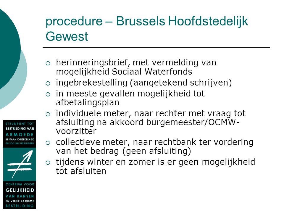 procedure – Brussels Hoofdstedelijk Gewest  herinneringsbrief, met vermelding van mogelijkheid Sociaal Waterfonds  ingebrekestelling (aangetekend sc