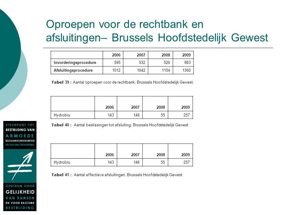 Oproepen voor de rechtbank en afsluitingen– Brussels Hoofdstedelijk Gewest 2006200720082009 Invorderingsprocedure595532526883 Afsluitingsprocedure1012