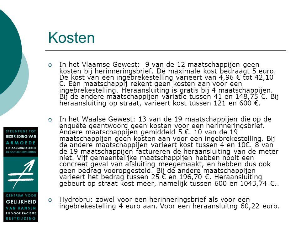 Kosten  In het Vlaamse Gewest: 9 van de 12 maatschappijen geen kosten bij herinneringsbrief. De maximale kost bedraagt 5 euro. De kost van een ingebr