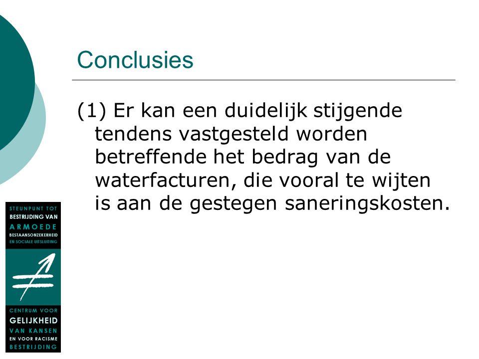Conclusies (1) Er kan een duidelijk stijgende tendens vastgesteld worden betreffende het bedrag van de waterfacturen, die vooral te wijten is aan de g