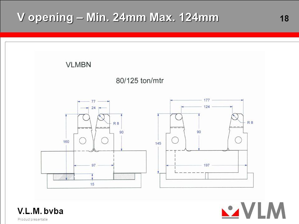 V.L.M. bvba Product presentatie 18 V opening – Min. 24mm Max. 124mm