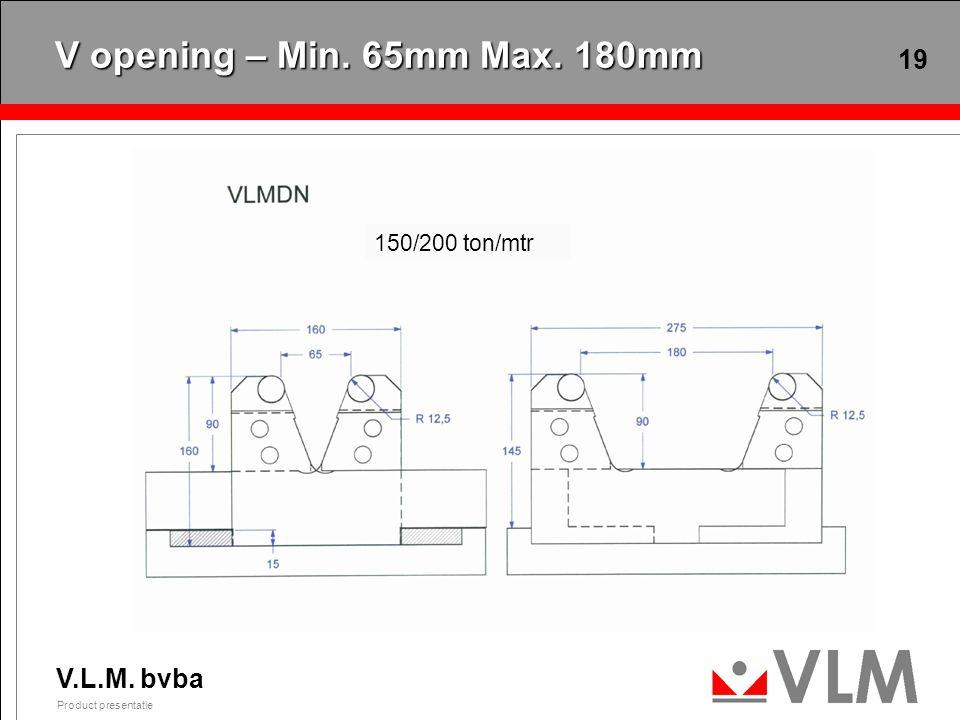 V.L.M. bvba Product presentatie 19 V opening – Min. 65mm Max. 180mm 150/200 ton/mtr