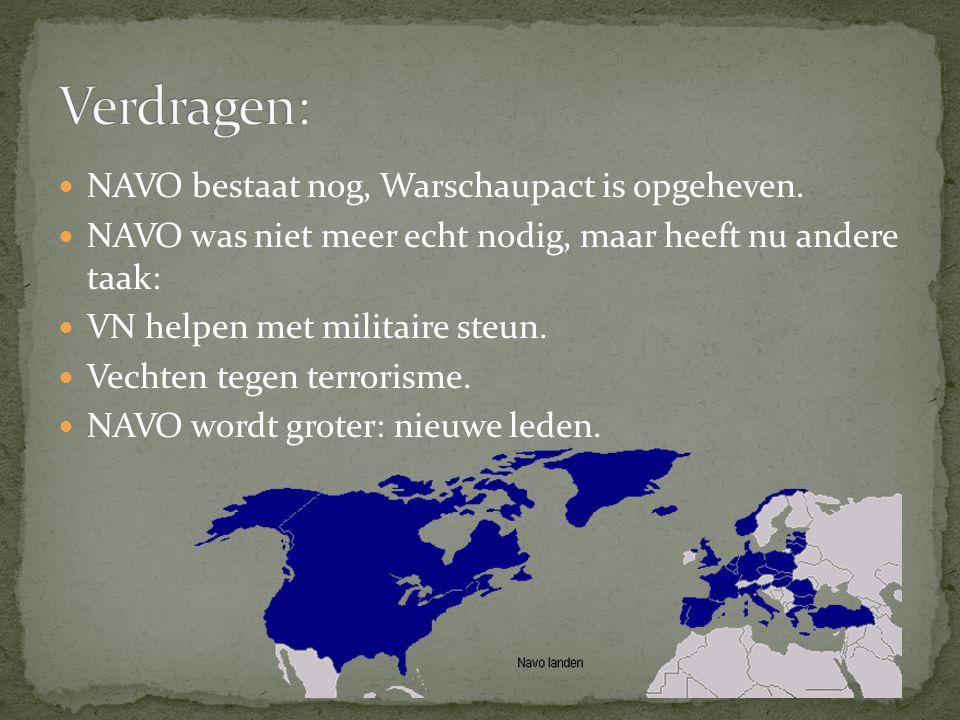 NAVO bestaat nog, Warschaupact is opgeheven.