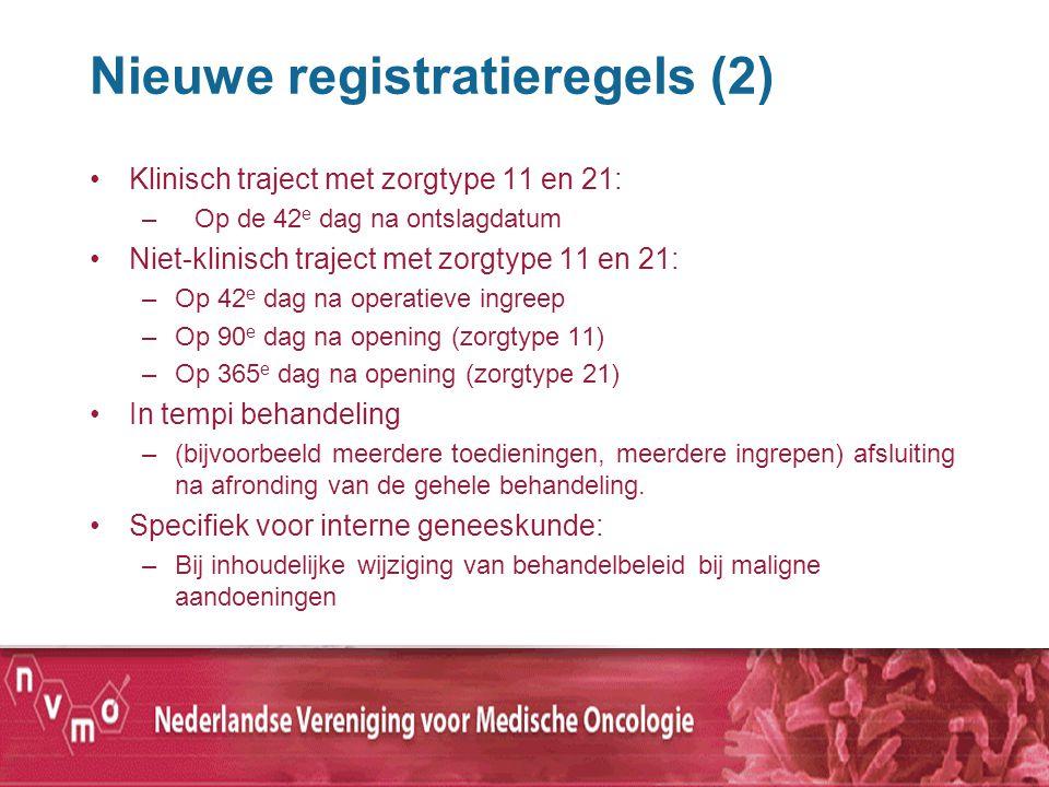 Nieuwe registratieregels (2) Klinisch traject met zorgtype 11 en 21: –Op de 42 e dag na ontslagdatum Niet-klinisch traject met zorgtype 11 en 21: –Op