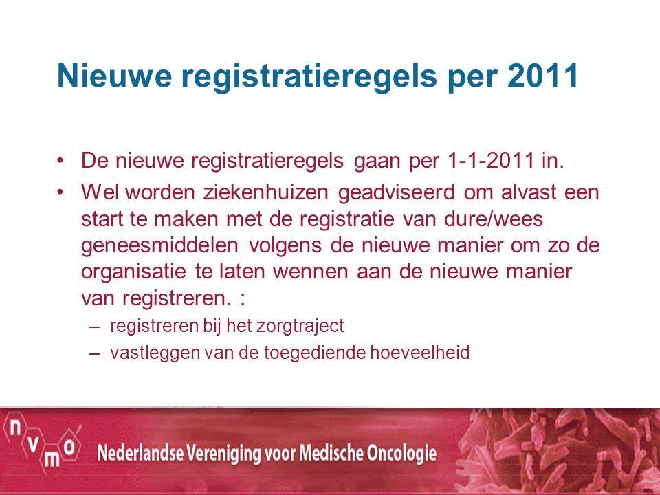Nieuwe registratieregels per 2011 De nieuwe registratieregels gaan per 1-1-2011 in. Wel worden ziekenhuizen geadviseerd om alvast een start te maken m