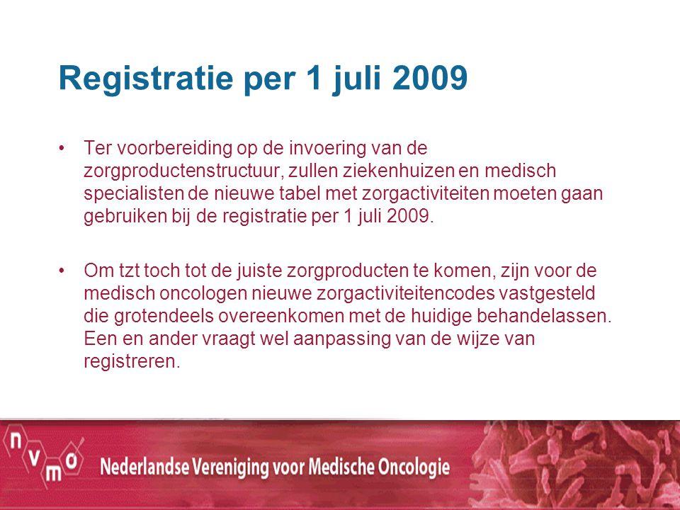 Registratie per 1 juli 2009 Ter voorbereiding op de invoering van de zorgproductenstructuur, zullen ziekenhuizen en medisch specialisten de nieuwe tab