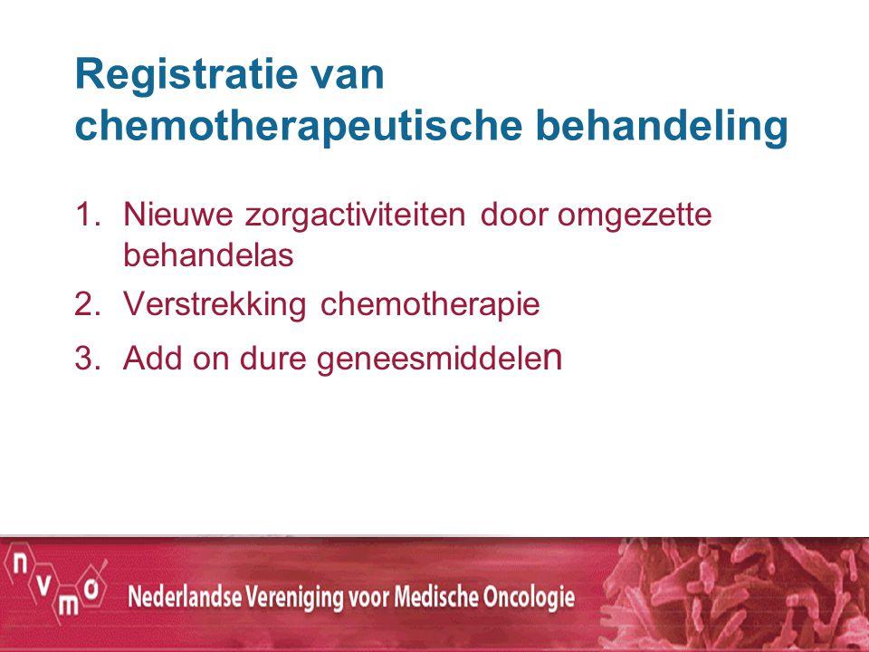 Registratie van chemotherapeutische behandeling 1.Nieuwe zorgactiviteiten door omgezette behandelas 2.Verstrekking chemotherapie 3.Add on dure geneesm