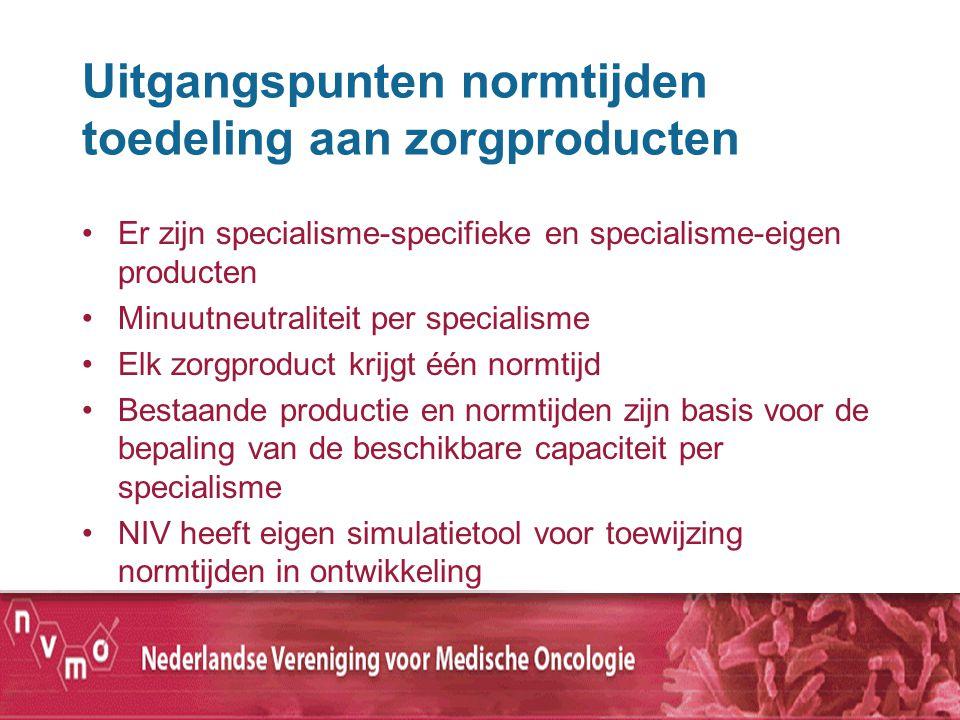 Uitgangspunten normtijden toedeling aan zorgproducten Er zijn specialisme-specifieke en specialisme-eigen producten Minuutneutraliteit per specialisme