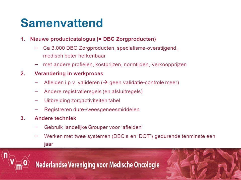 Samenvattend 1.Nieuwe productcatalogus (= DBC Zorgproducten) – Ca 3.000 DBC Zorgproducten, specialisme-overstijgend, medisch beter herkenbaar – met an