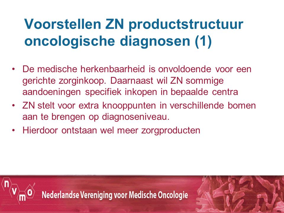 Voorstellen ZN productstructuur oncologische diagnosen (1) De medische herkenbaarheid is onvoldoende voor een gerichte zorginkoop. Daarnaast wil ZN so