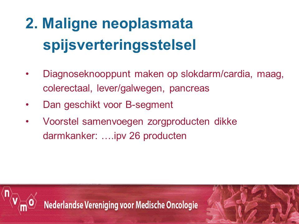 2. Maligne neoplasmata spijsverteringsstelsel Diagnoseknooppunt maken op slokdarm/cardia, maag, colerectaal, lever/galwegen, pancreas Dan geschikt voo