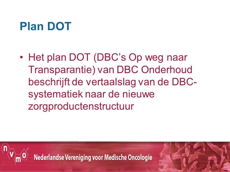 Plan DOT Het plan DOT (DBC's Op weg naar Transparantie) van DBC Onderhoud beschrijft de vertaalslag van de DBC- systematiek naar de nieuwe zorgproduct