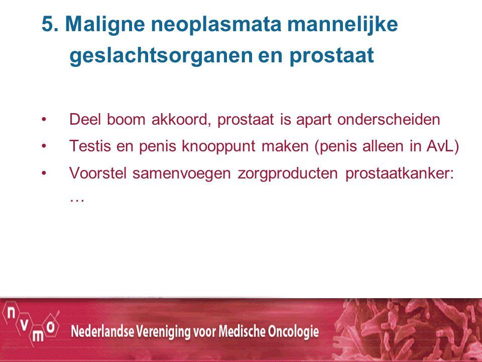5. Maligne neoplasmata mannelijke geslachtsorganen en prostaat Deel boom akkoord, prostaat is apart onderscheiden Testis en penis knooppunt maken (pen