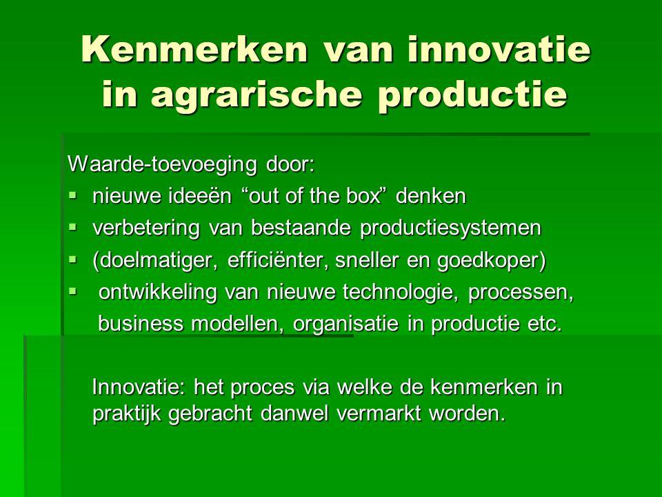 """Kenmerken van innovatie in agrarische productie Kenmerken van innovatie in agrarische productie Waarde-toevoeging door:  nieuwe ideeën """"out of the bo"""