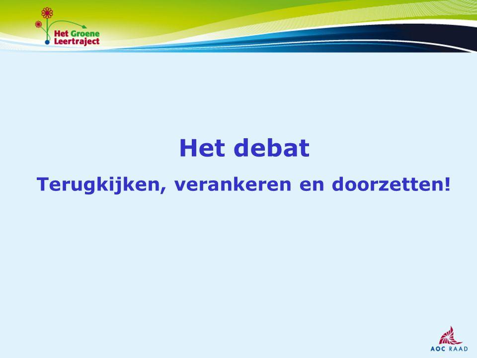 Een prijs voor: de beste debater de meest gepeperde uitspraak de verbale uitglijder Jury: Hilda Weges (AOC Raad) Johan van Geffen (ministerie LNV) Karin Elferink (Projectgroep HGL)