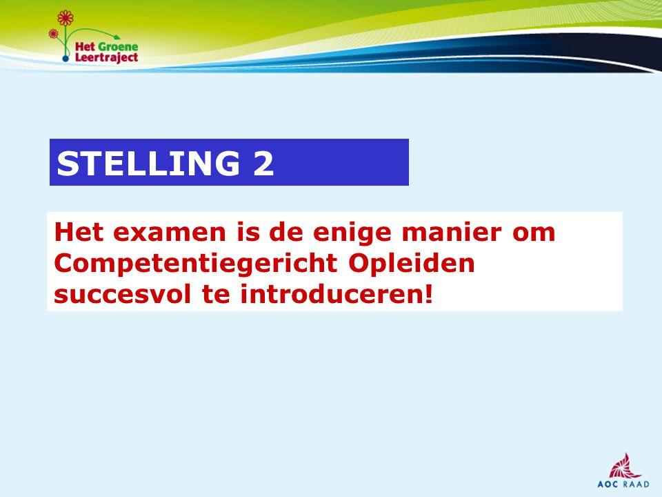 Het examen is de enige manier om Competentiegericht Opleiden succesvol te introduceren! STELLING 2