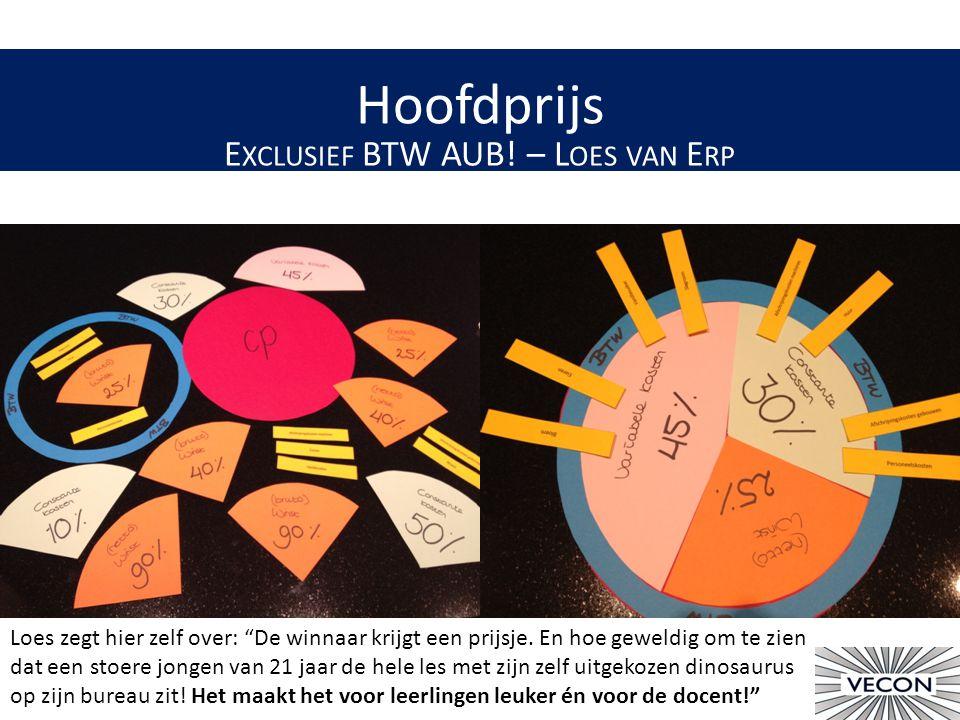 Hoofdprijs E XCLUSIEF BTW AUB.