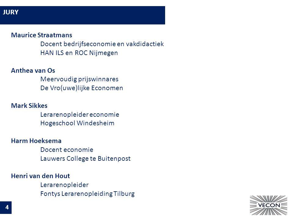 JURY 4 Maurice Straatmans Docent bedrijfseconomie en vakdidactiek HAN ILS en ROC Nijmegen Anthea van Os Meervoudig prijswinnares De Vro(uwe)lijke Economen Mark Sikkes Lerarenopleider economie Hogeschool Windesheim Harm Hoeksema Docent economie Lauwers College te Buitenpost Henri van den Hout Lerarenopleider Fontys Lerarenopleiding Tilburg