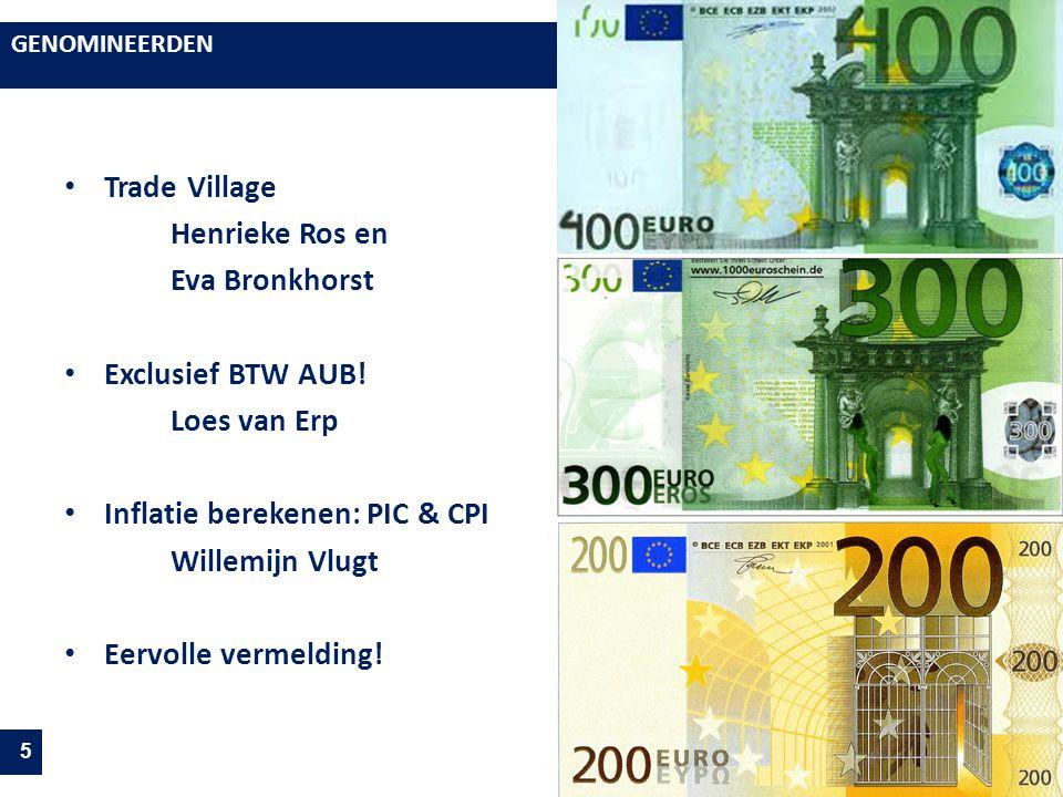 GENOMINEERDEN 5 Trade Village Henrieke Ros en Eva Bronkhorst Exclusief BTW AUB! Loes van Erp Inflatie berekenen: PIC & CPI Willemijn Vlugt Eervolle ve