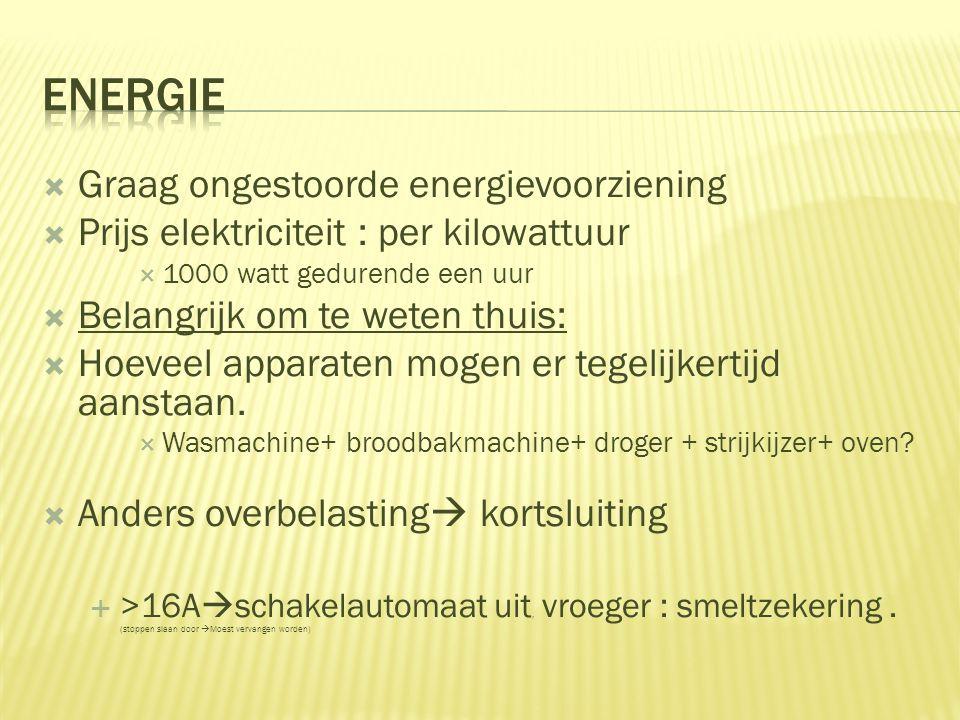  Graag ongestoorde energievoorziening  Prijs elektriciteit : per kilowattuur  1000 watt gedurende een uur  Belangrijk om te weten thuis:  Hoeveel
