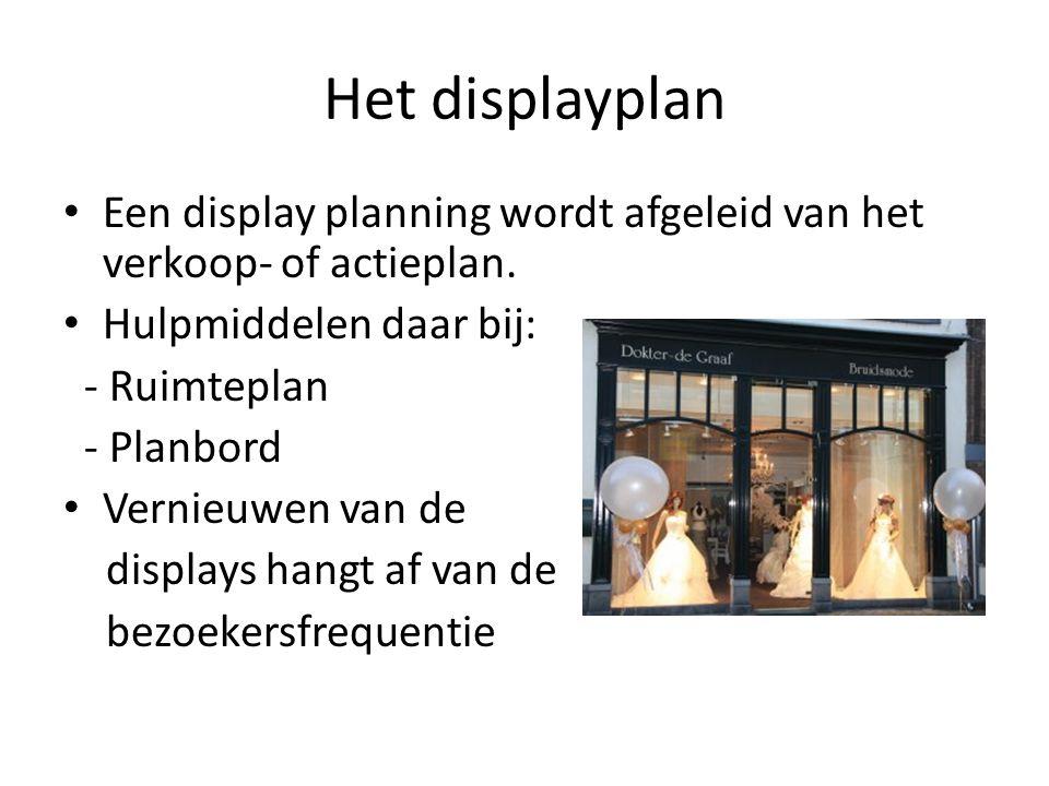 Het displayplan Een display planning wordt afgeleid van het verkoop- of actieplan. Hulpmiddelen daar bij: - Ruimteplan - Planbord Vernieuwen van de di