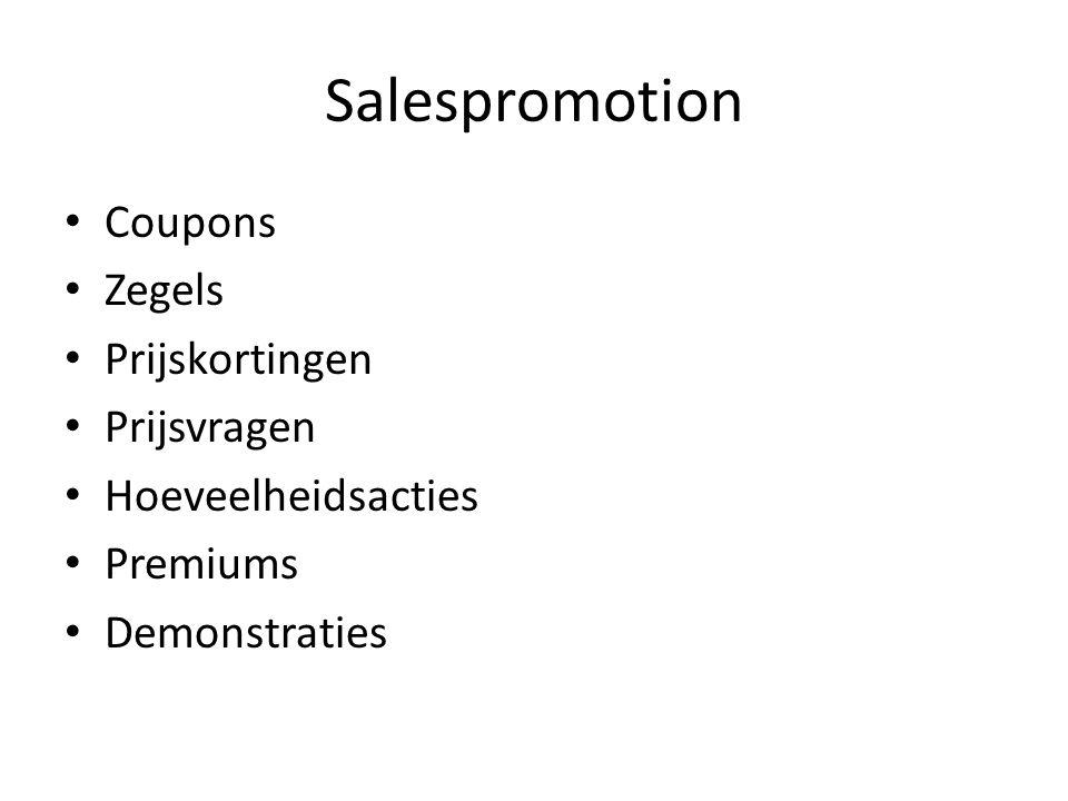 Salespromotion Coupons Zegels Prijskortingen Prijsvragen Hoeveelheidsacties Premiums Demonstraties