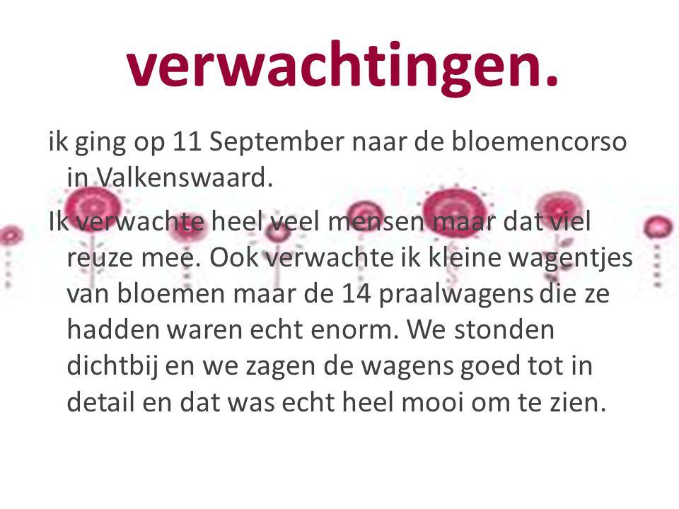 verwachtingen.ik ging op 11 September naar de bloemencorso in Valkenswaard.