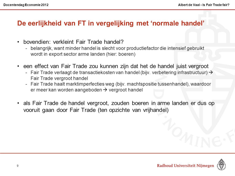 bovendien: verkleint Fair Trade handel? -belangrijk, want minder handel is slecht voor productiefactor die intensief gebruikt wordt in export sector a