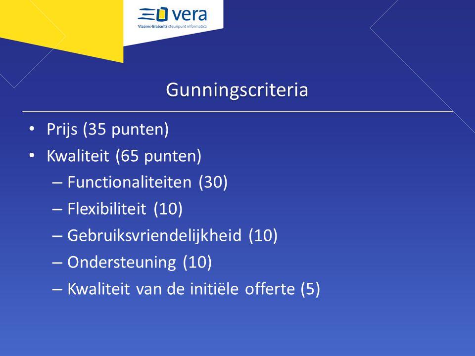 Gunningscriteria Prijs (35 punten) Kwaliteit (65 punten) – Functionaliteiten (30) – Flexibiliteit (10) – Gebruiksvriendelijkheid (10) – Ondersteuning
