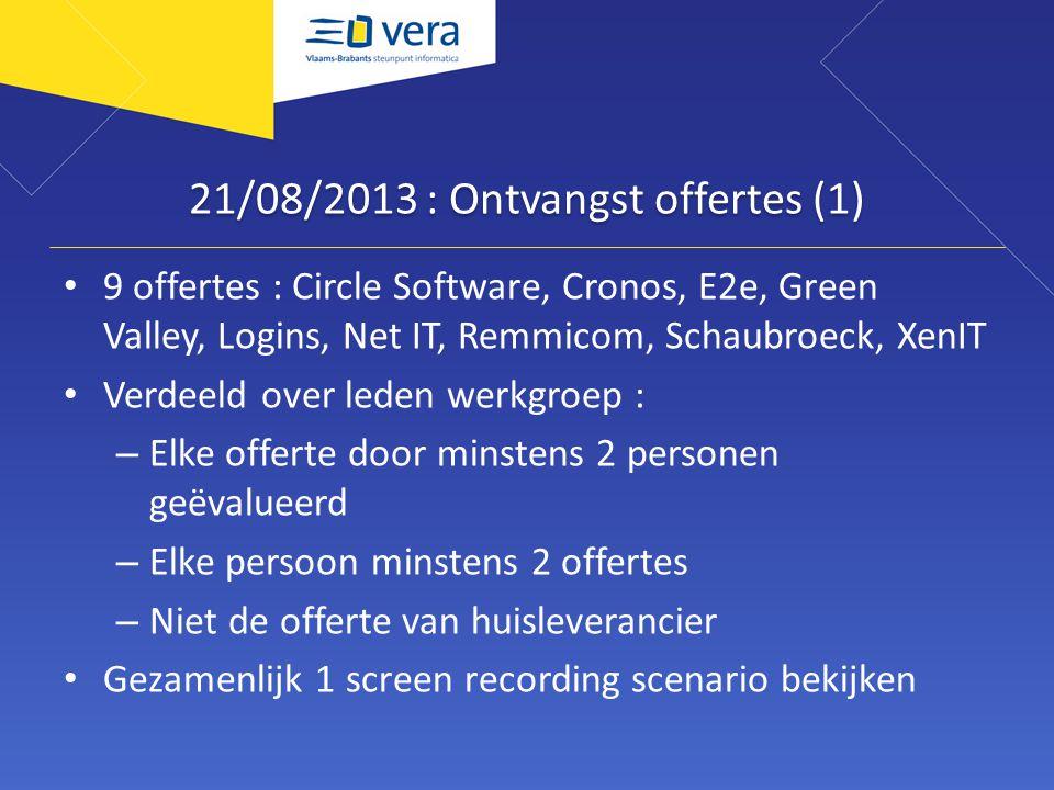 21/08/2013 : Ontvangst offertes (1) 9 offertes : Circle Software, Cronos, E2e, Green Valley, Logins, Net IT, Remmicom, Schaubroeck, XenIT Verdeeld ove