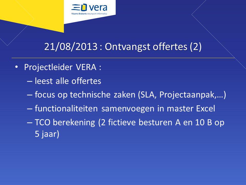 21/08/2013 : Ontvangst offertes (2) Projectleider VERA : – leest alle offertes – focus op technische zaken (SLA, Projectaanpak,…) – functionaliteiten