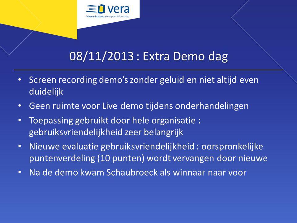08/11/2013 : Extra Demo dag Screen recording demo's zonder geluid en niet altijd even duidelijk Geen ruimte voor Live demo tijdens onderhandelingen To