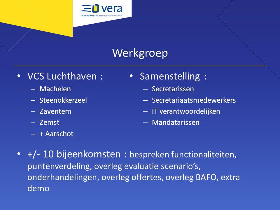Werkgroep VCS Luchthaven : – Machelen – Steenokkerzeel – Zaventem – Zemst – + Aarschot +/- 10 bijeenkomsten : bespreken functionaliteiten, puntenverde