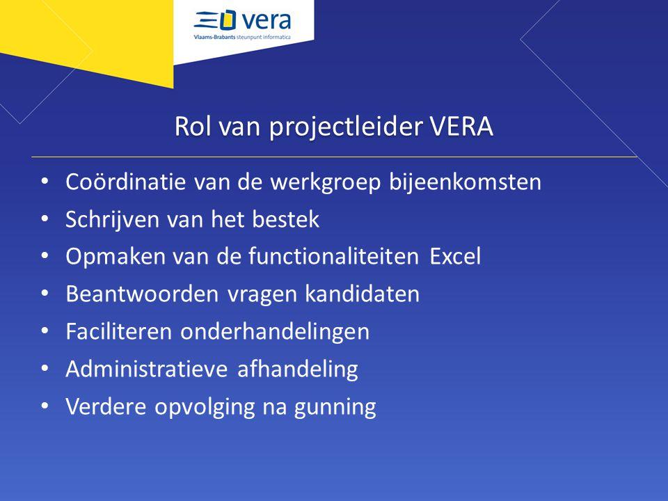 Rol van projectleider VERA Coördinatie van de werkgroep bijeenkomsten Schrijven van het bestek Opmaken van de functionaliteiten Excel Beantwoorden vra