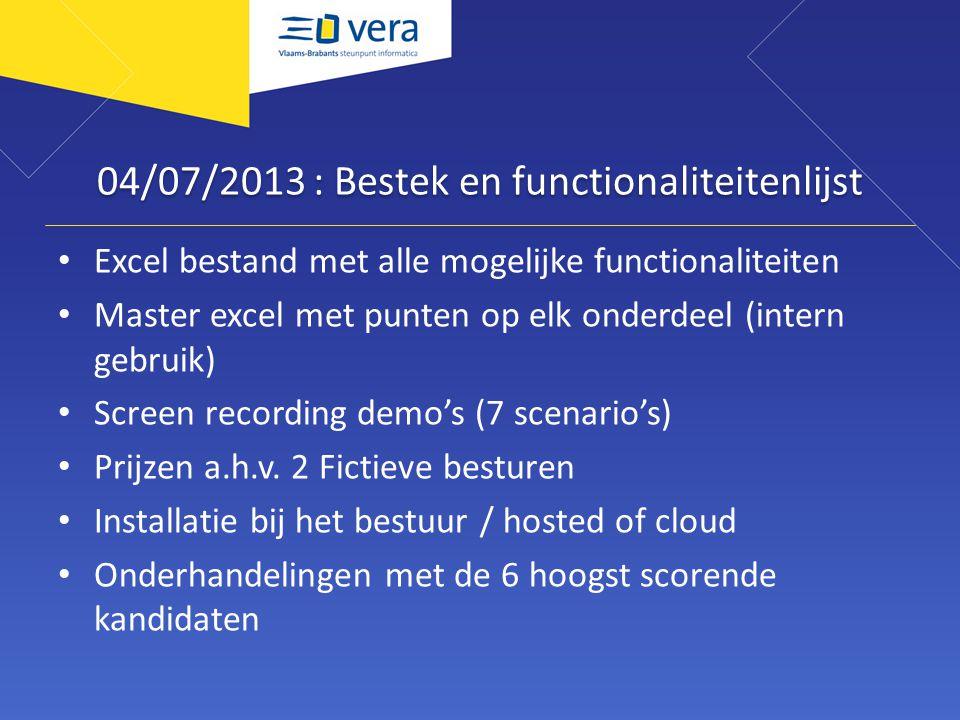 04/07/2013 : Bestek en functionaliteitenlijst Excel bestand met alle mogelijke functionaliteiten Master excel met punten op elk onderdeel (intern gebr