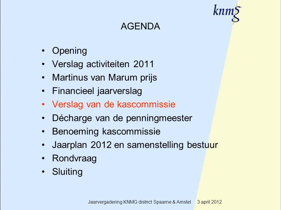 12 AGENDA Opening Verslag activiteiten 2011 Martinus van Marum prijs Financieel jaarverslag Verslag van de kascommissie Décharge van de penningmeester