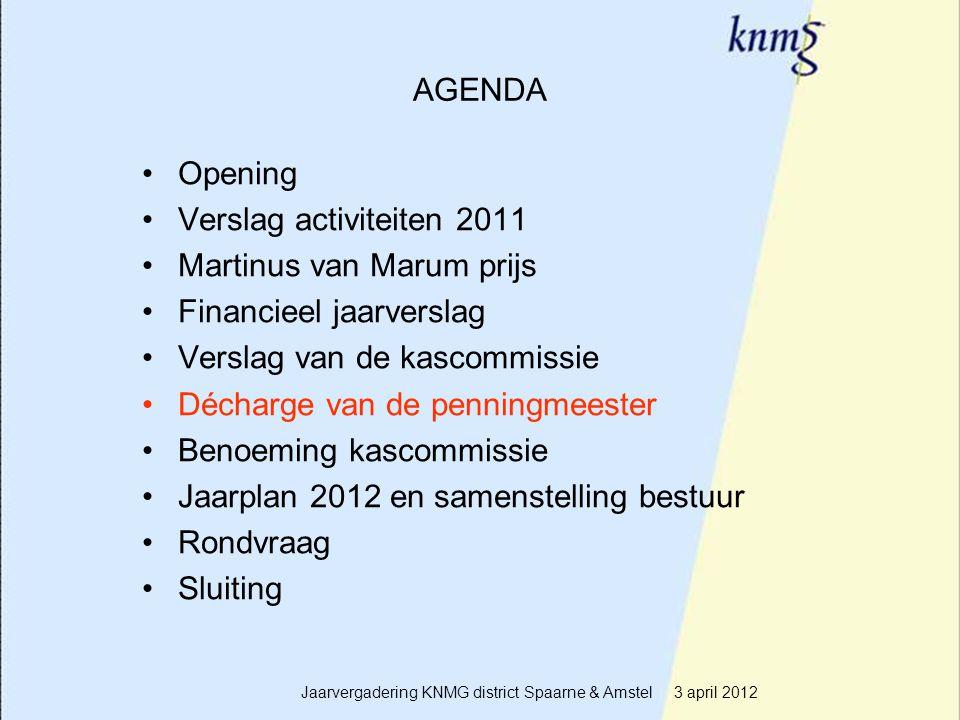 14 AGENDA Opening Verslag activiteiten 2011 Martinus van Marum prijs Financieel jaarverslag Verslag van de kascommissie Décharge van de penningmeester