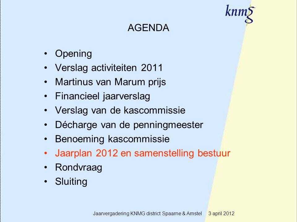 16 AGENDA Opening Verslag activiteiten 2011 Martinus van Marum prijs Financieel jaarverslag Verslag van de kascommissie Décharge van de penningmeester
