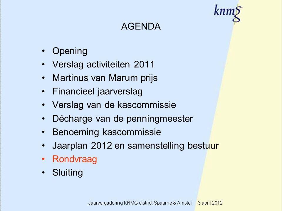 19 AGENDA Opening Verslag activiteiten 2011 Martinus van Marum prijs Financieel jaarverslag Verslag van de kascommissie Décharge van de penningmeester