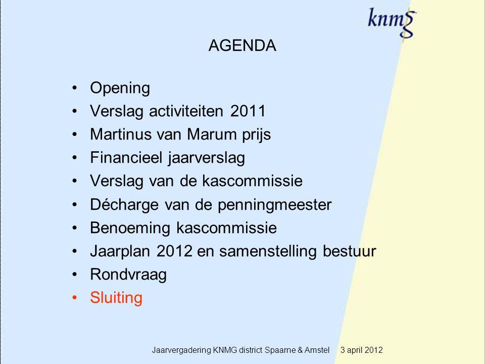 20 AGENDA Opening Verslag activiteiten 2011 Martinus van Marum prijs Financieel jaarverslag Verslag van de kascommissie Décharge van de penningmeester