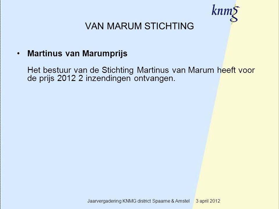 7 VAN MARUM STICHTING Martinus van Marumprijs Het bestuur van de Stichting Martinus van Marum heeft voor de prijs 2012 2 inzendingen ontvangen. Jaarve