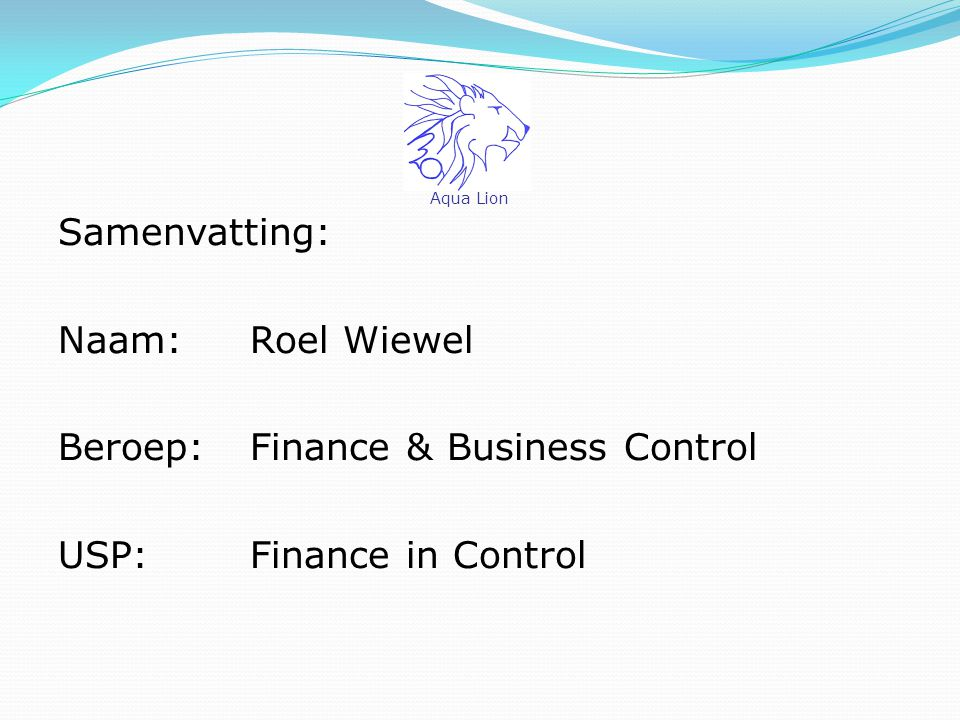 Samenvatting: Naam: Roel Wiewel Beroep: Finance & Business Control USP: Finance in Control Aqua Lion