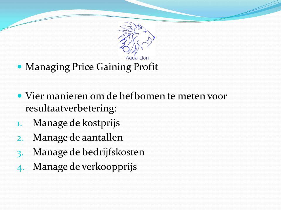 Managing Price Gaining Profit Vier manieren om de hefbomen te meten voor resultaatverbetering: 1.