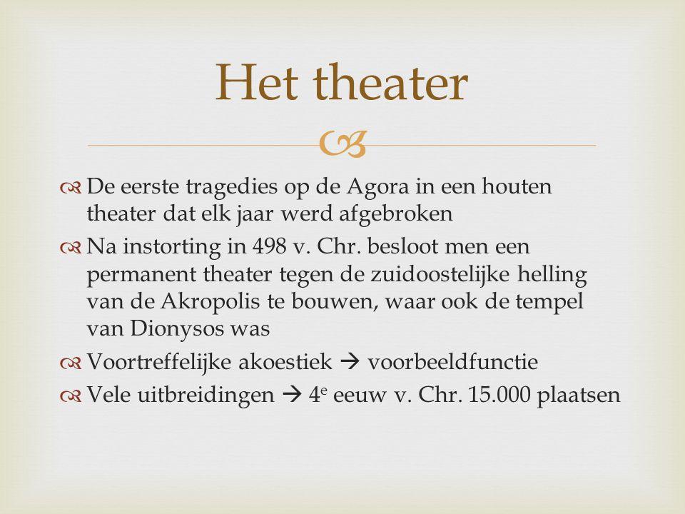   De eerste tragedies op de Agora in een houten theater dat elk jaar werd afgebroken  Na instorting in 498 v. Chr. besloot men een permanent theate