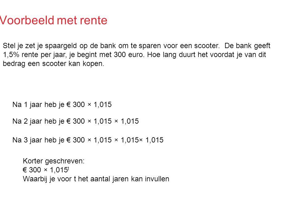 Voorbeeld met rente Stel je zet je spaargeld op de bank om te sparen voor een scooter. De bank geeft 1,5% rente per jaar, je begint met 300 euro. Hoe