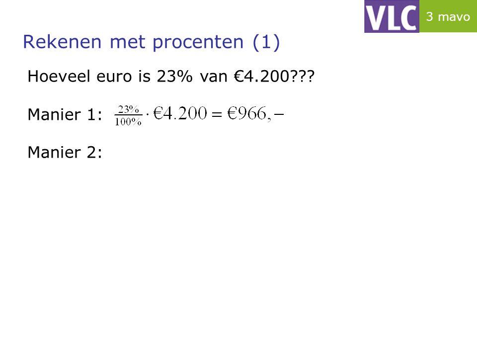 Rekenen met procenten (1) Hoeveel euro is 23% van €4.200??? Manier 1: Manier 2: 3 mavo