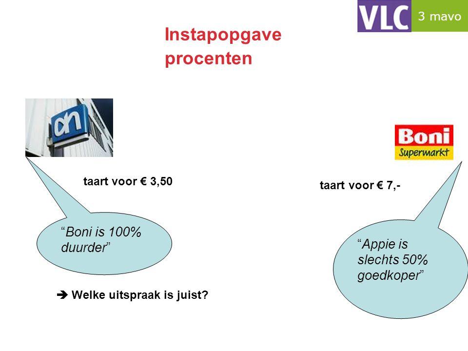 """Instapopgave procenten taart voor € 7,- taart voor € 3,50 """"Boni is 100% duurder"""" """"Appie is slechts 50% goedkoper""""  Welke uitspraak is juist? 3 mavo"""