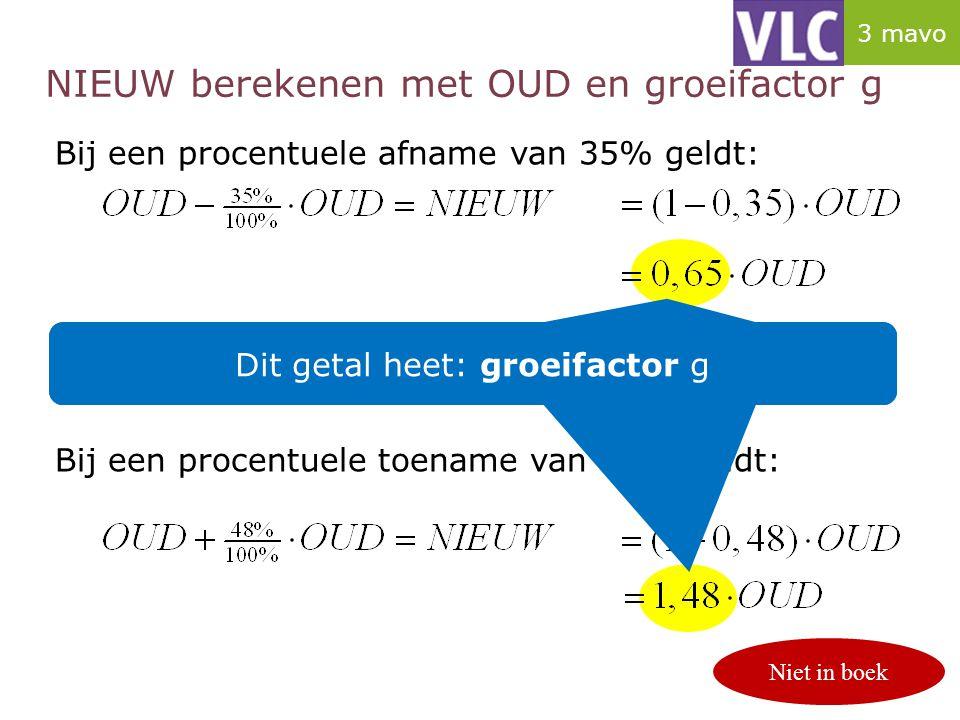 NIEUW berekenen met OUD en groeifactor g Bij een procentuele afname van 35% geldt: Bij een procentuele toename van 48% geldt: Dit getal noemen we de g