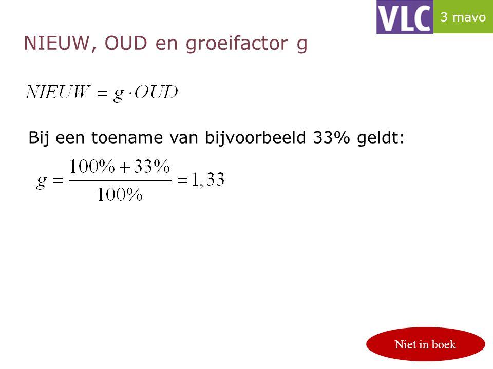 NIEUW, OUD en groeifactor g p. 124/125 Bij een toename van bijvoorbeeld 33% geldt: Niet in boek 3 mavo